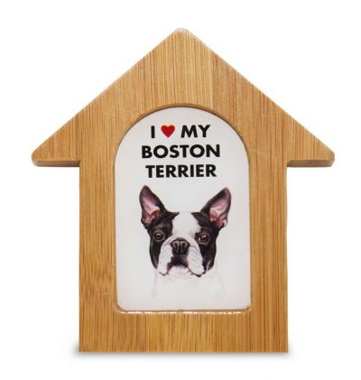 Boston Terrier Wooden Dog House Magnet 3.5 X 3 In