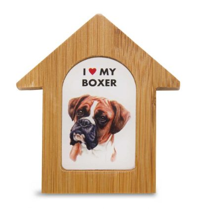 Boxer Wooden Dog House Magnet 3.5 X 3 In. Self Standing