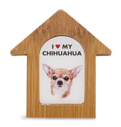 Chihuahua Wooden Dog House Magnet 3.5 X 3 In