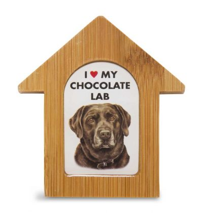 Chocolate Lab Wooden Dog House Magnet 3.5 X 3 In