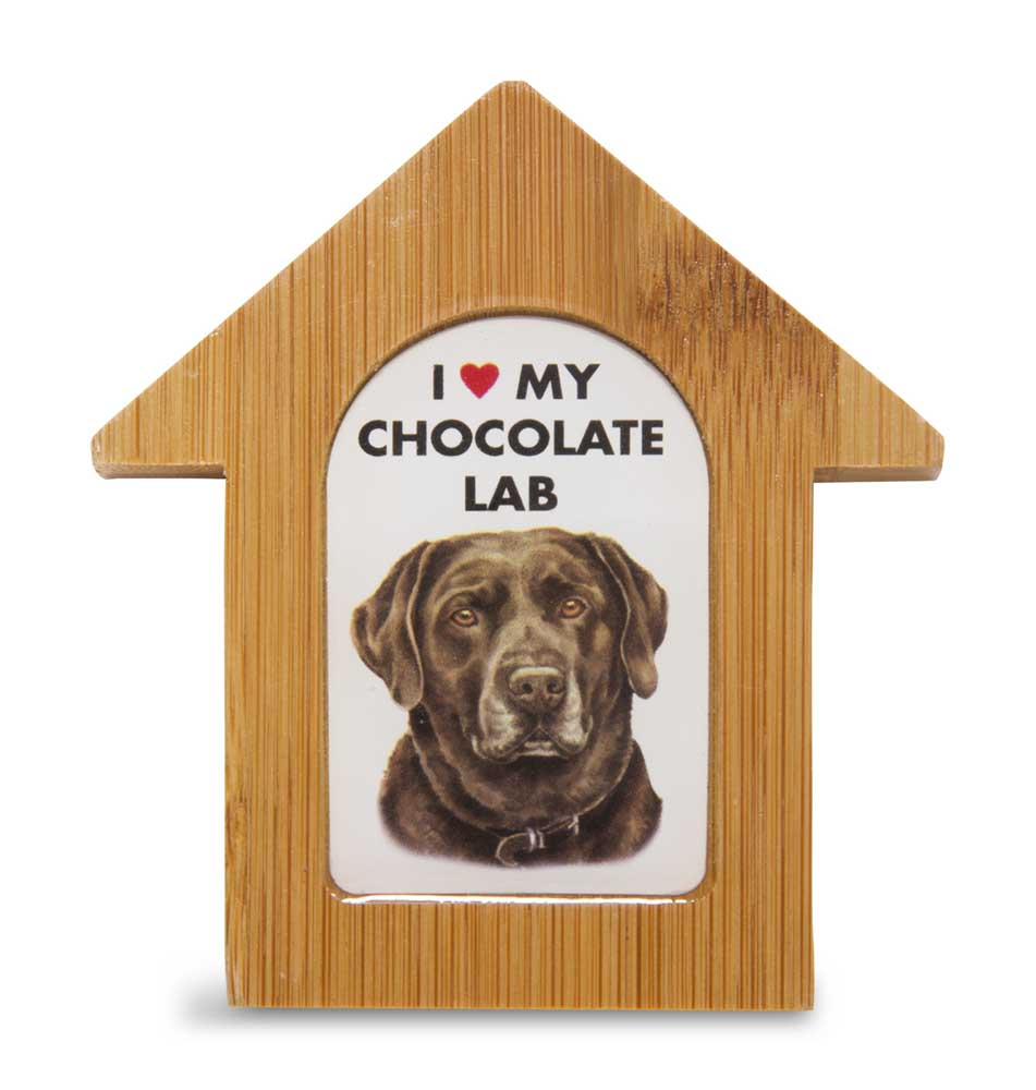 Chocolate Lab Wooden Dog House Magnet 3.5 X 3 In. Self Standing