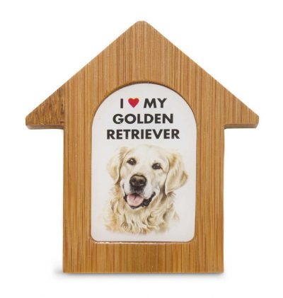 Golden Retriever Wooden Dog House Magnet 3.5 X 3 In. Self Standing