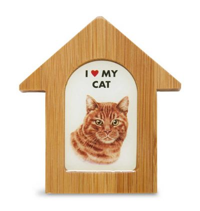 Orange Cat Wooden Dog House Magnet 3.5 X 3 In