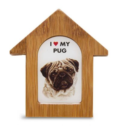 Pug Wooden Dog House Magnet 3.5 X 3 In