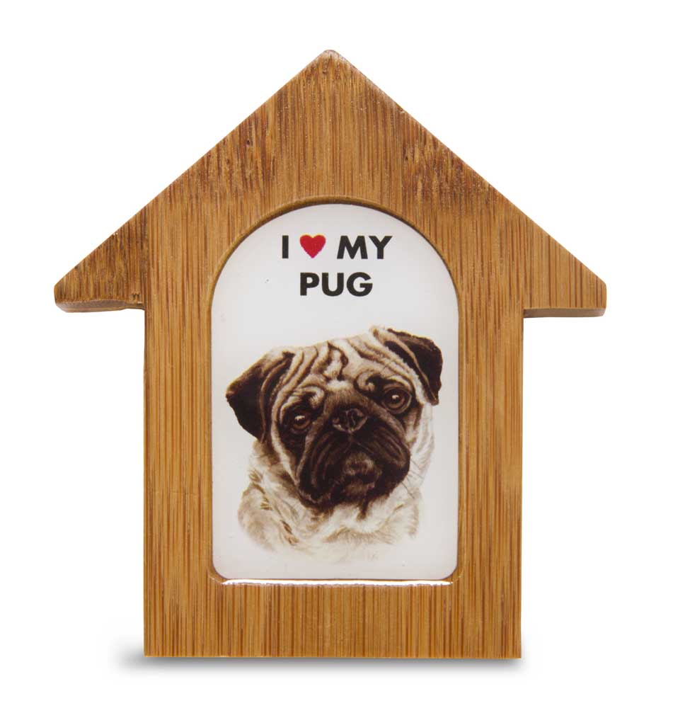 Pug Wooden Dog House Magnet 3.5 X 3 In. Self Standing