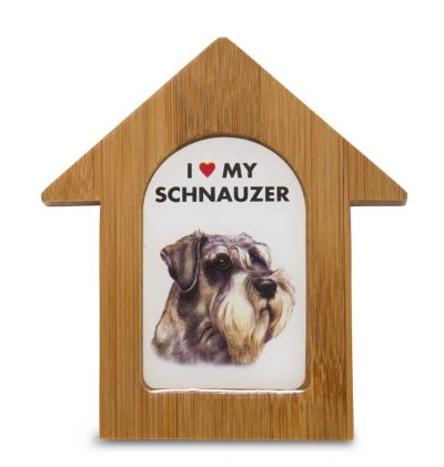 Schnauzer Wooden Dog House Magnet 3.5 X 3 In