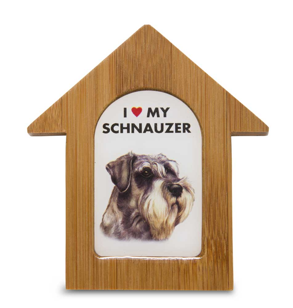 Schnauzer Wooden Dog House Magnet 3.5 X 3 In. Self Standing