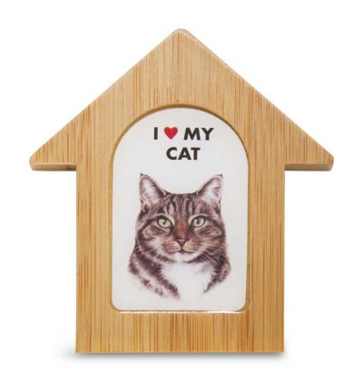Tabby Cat Wooden Dog House Magnet 3.5 X 3 In. Self Standing