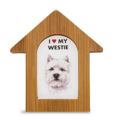 Westie Wooden Dog House Magnet 3.5 X 3 In