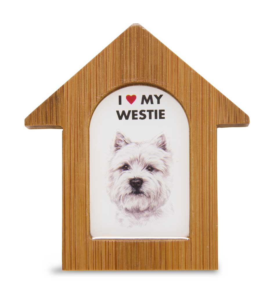 Westie Wooden Dog House Magnet 3.5 X 3 In. Self Standing
