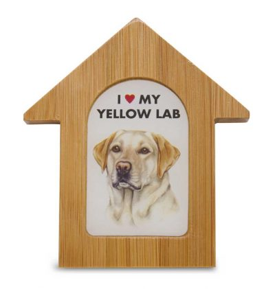 Yellow Lab Wooden Dog House Magnet 3.5 X 3 In