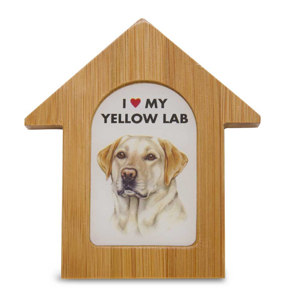 Yellow Lab Wooden Dog House Magnet 3.5 X 3 In. Self Standing
