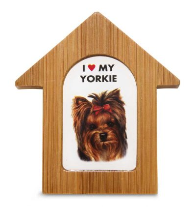 Yorkie Wooden Dog House Magnet 3.5 X 3 In
