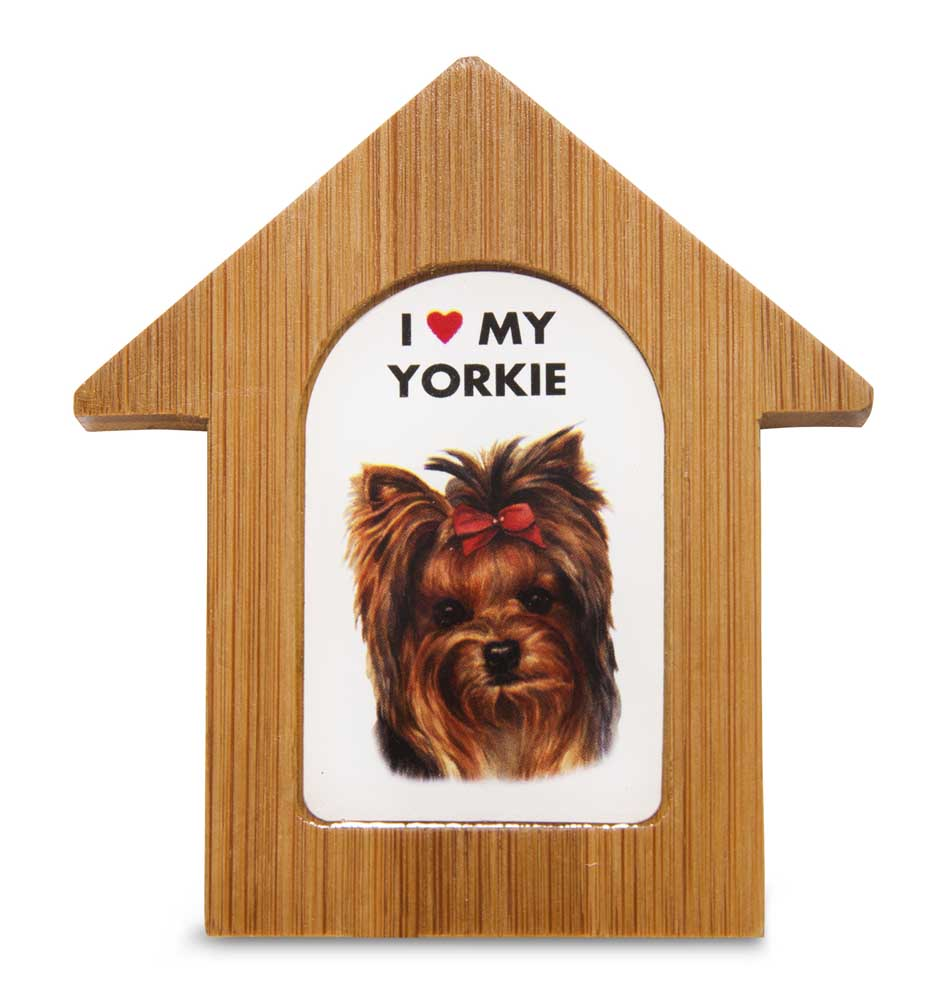 Yorkie Wooden Dog House Magnet 3.5 X 3 In. Self Standing