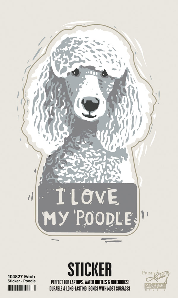 Poodle Shaped Sticker By Kathy