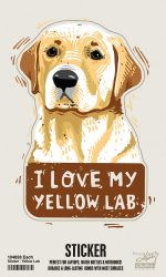 Yellow Lab Shaped Sticker By Kathy
