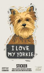 Yorkie Shaped Sticker By Kathy
