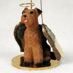 Airedale-Terrier-Dog-Figurine-Angel-Statue-Hand-Painted-181337617746