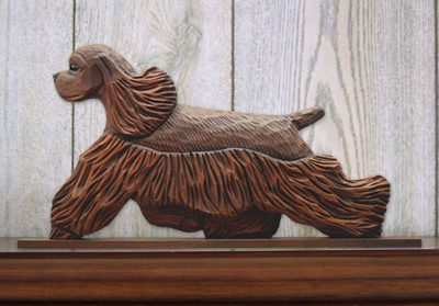 American-Cocker-Spaniel-Dog-Figurine-Sign-Plaque-Display-Wall-Decoration-Brown-400721980985