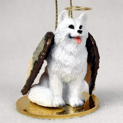 American-Eskimo-Dog-Figurine-Ornament-Angel-Statue-Hand-Painted-400609018873