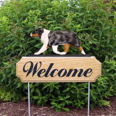 Australian-Shepherd-Dog-Breed-Oak-Wood-Welcome-Outdoor-Yard-Sign-Blue-Merle-181404154398