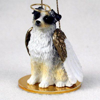 Australian-Shepherd-Dog-Figurine-Angel-Statue-Hand-Painted-Blue-400201486658