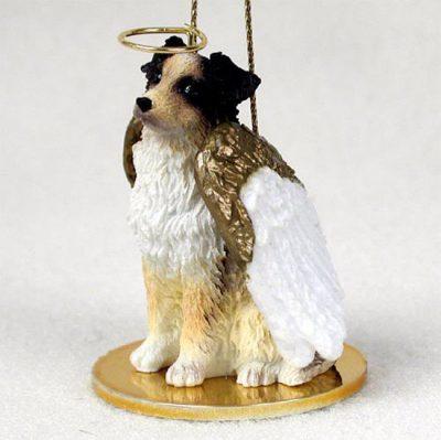 Australian-Shepherd-Dog-Figurine-Angel-Statue-Hand-Painted-Brown-400201486674