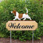 Basset-Hound-Dog-Breed-Oak-Wood-Welcome-Outdoor-Yard-Sign-RedWhite-400706782957