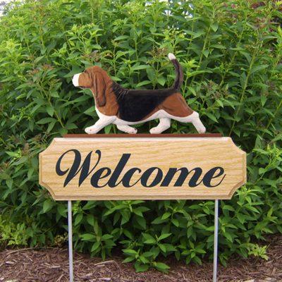 Basset-Hound-Dog-Breed-Oak-Wood-Welcome-Outdoor-Yard-Sign-Tri-400706782568