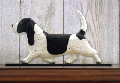 Basset-Hound-Dog-Figurine-Sign-Plaque-Display-Wall-Decoration-BlackWhite-181430759906