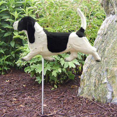 Basset-Hound-Outdoor-Garden-Dog-Sign-Hand-Painted-Figure-BlackWhite-181369639190
