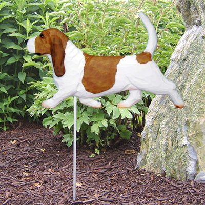Basset-Hound-Outdoor-Garden-Dog-Sign-Hand-Painted-Figure-RedWhite-400688295981