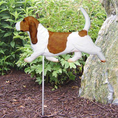 Basset-Hound-Outdoor-Garden-Dog-Sign-Hand-Painted-Figure-RedWhite-400688295981
