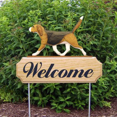 Beagle Welcome Sign Outdoor Oak Wood Yard Sign Tri