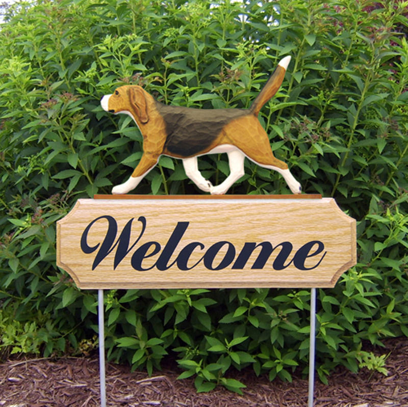 Bull Outdoor Kitchen Beagle Welcome Sign Outdoor Oak Wood Yard Sign Tri