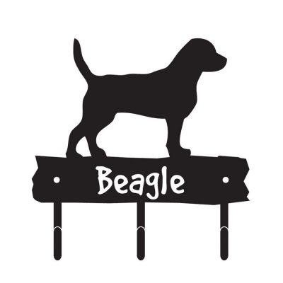 Beagle-Dog-Breed-Silhouette-Leash-Hook-Holder-Key-Rack-Metal-Figurine-400351219580