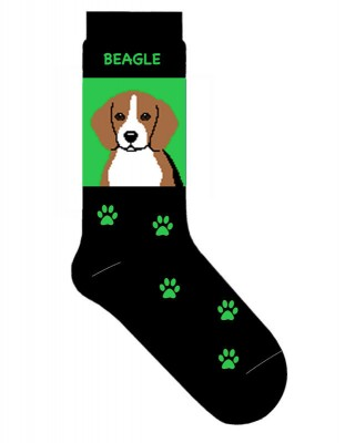 Beagle-Dog-Socks-Lightweight-Cotton-Crew-Stretch-Egyptian-Made-400676935611