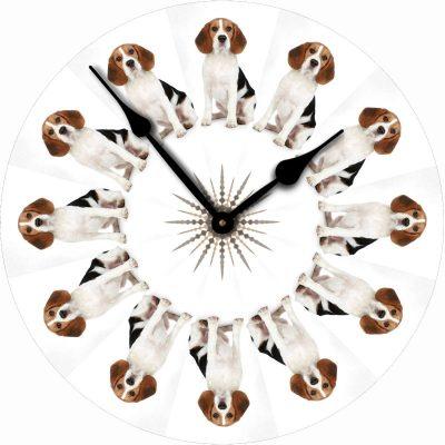 Beagle-Dog-Wall-Clock-10-Round-Wood-Made-in-USA-400707270964