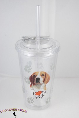 Beagle-Double-Walled-Reusable-Acrylic-Dog-Tumbler-Water-Bottle-w-Straw-400275478593