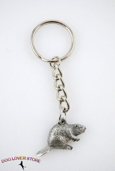 Beaver-Fine-Pewter-Silver-Keychain-Key-Chain-Ring-400749496831