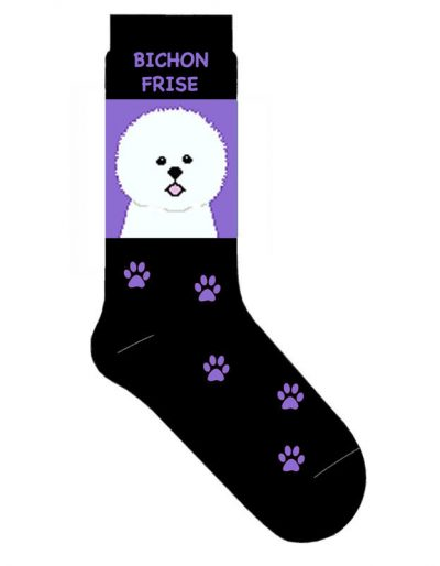Bichon-Frise-Dog-Socks-Lightweight-Cotton-Crew-Stretch-Egyptian-Made-400679577002