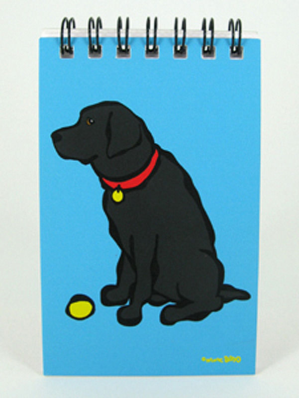 black lab dog paper spiral memo notepad book 40 pages 2x4