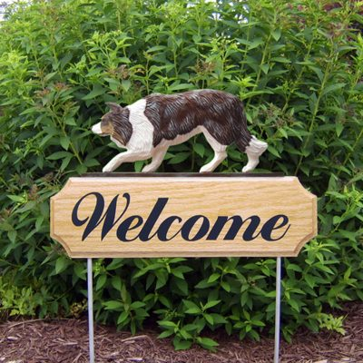 Border-Collie-Dog-Breed-Oak-Wood-Welcome-Outdoor-Yard-Sign-Red-Merle-400706785683
