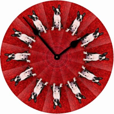 Boston-Terrier-Dog-Wall-Clock-10-Round-Wood-Made-in-USA-400707271334