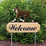 Boxer Welcome Sign Oak Wood Outdoor Yard Sign Brindle
