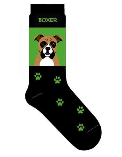 Boxer-Dog-Socks-Lightweight-Cotton-Crew-Stretch-Egyptian-Made-Green-181299221389