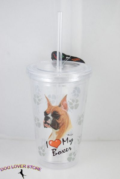 Boxer-Double-Walled-Reusable-Acrylic-Dog-Tumbler-Water-Bottle-w-Straw-400462149764
