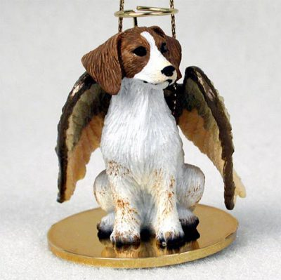 Brittany-Dog-Figurine-Angel-Statue-Hand-Painted-Brown-White-181337613410