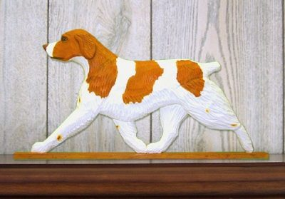 Brittany-Spaniel-Dog-Figurine-Sign-Plaque-Display-Wall-Decoration-Orange-181430769736