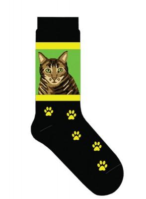 Brown-Tabby-Cat-Socks-Lightweight-Cotton-Crew-Stretch-Egyptian-Made-181095458477